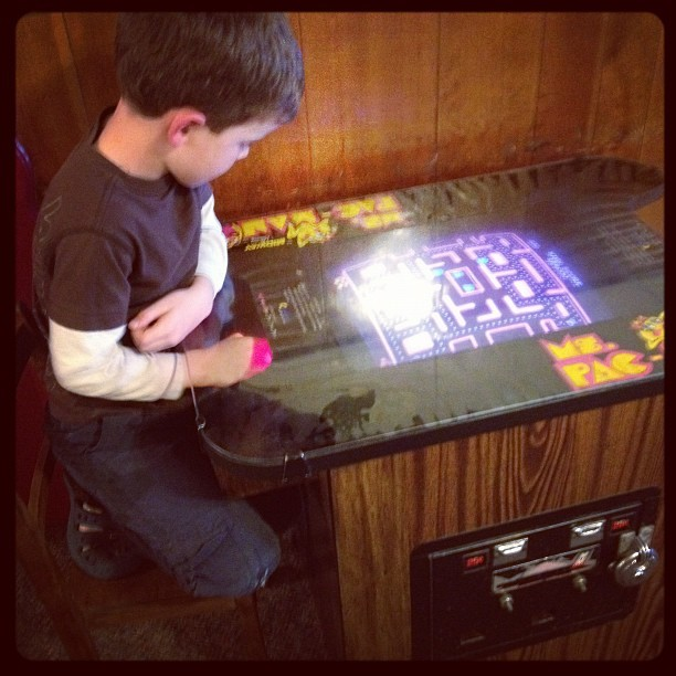 Crucial developmental step: Ms Pac-man tabletop.  (Taken with instagram)