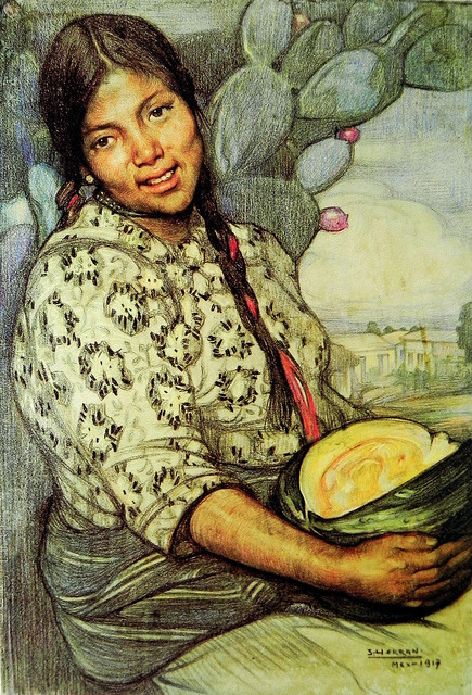Joven con calabaza de Saturnino Herrán. 1917. Mixed technique on paper. by Alfonso II on Flickr.