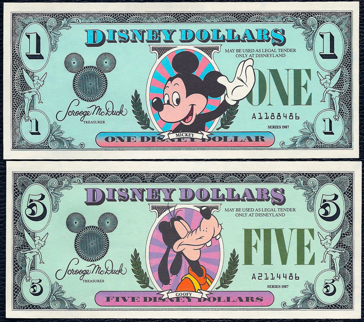 Disney Dollars were released in 1987; the first series was the A series released at Walt Disney World and Disneyland. Disney printed 870,000 of the original series for the May 5, 1987 release at both parks.