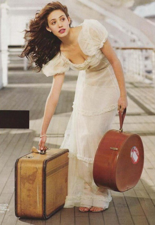 (via Study Abroad Style / Travel Glamour with Emmy Rossum)  Old-fashioned suitcases are so romantic-looking, but from a practical perspective, I would much rather have a roller-bag!