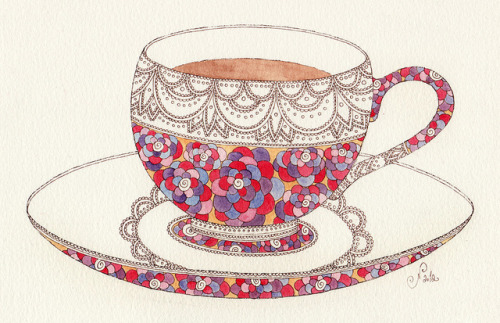 coffeepeople:  MariyaPaskovsky - Tea cup illustration-2 by jenvaughnart on Flickr.