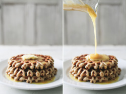Almond  & Yogurt Waffles Orange Honey Syrup Ingredients: 1/2 cup honey 1/2 TBS of orange zest juice from 1/2 an orange Waffle Ingredients: 3 cups almond flour 1/2 tsp salt 1/2 tsp baking soda 1 1/2 tsp ground cinnamon 1 tsp ground nutmeg 4 eggs 1 1/2 TBS honey 1/2 cup yogurt 1 very ripe banana, mashed with a fork  Syrup Directions: Whisk ingredients until it turns to a smooth syrup.  Pancake Directions: Combine all dry ingredients into a bowl.  Add the wet ingredients and whisk until a batter forms.  Pour 1/2 cup of batter onto a greased waffle iron a cook for 2 minutes. (all waffle irons vary in temperature so you may need more or less time). Pour syrup over waffles and enjoy!