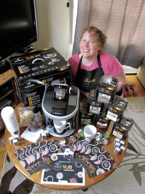 Ready for the Keurig VUE house party! Loving houseparty.com and all the cool stuff that was in the party pack. Believe me when I say houseparty is THE best!!!! In the party pack was a Keurig VUE brewer and a ton of other stuff. It costs NOTHING! Just promise to host a party with your friends to let them try out the product. It's fantastic!!!!!!!!!