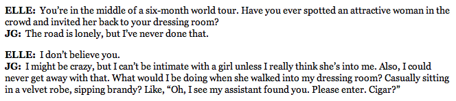 This interview with Josh Groban in ELLE (from last year) is delightful.