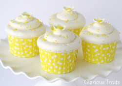 Vanilla Lemon Cupcakes Ingredients: 1 recipe vanilla cupcakes 1/2 cup (1 stick) butter 1 (8 oz.) package (block) cream cheese 4 cups powdered sugar 1 teaspoon fresh lemon zest 1/2 teaspoon vanilla extract 2-3 teaspoons fresh lemon juice Lemon Curd (for filling, optional) Directions: Make vanilla cupcakes and let them cool completely.  Cut out a cone shaped hole at the top of the cupcake and fill with 1-2 teaspoons of lemon curd.  In the bowl of an electric mixer, beat butter (while still cool) until smooth. Add (cold) cream cheese and continue to beat until fully incorporated and smooth. Add powder sugar, one cup at a time, while the mixer is running. Continue mixing and add lemon zest, vanilla and lemon juice. Mix an additional 30 seconds, until smooth, light and fluffy. Frost cooled cupcakes.