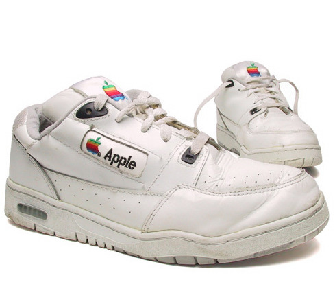Red Light Runner:  These unique Apple logo shoes feature the vintage Apple logo embroidered into the tongue and sides of the shoes. Distributed to Apple employees in the 90's [sic]  Found in the depths of my old bookmarks, revived for your viewing pleasure.