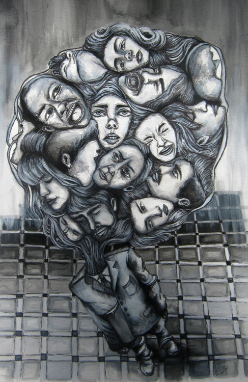 Face Collector,2011, Pen and Ink.