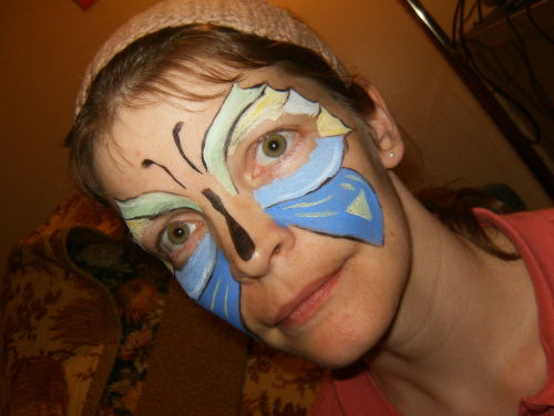 New face paint set - first butterfly, modeled by my mom.