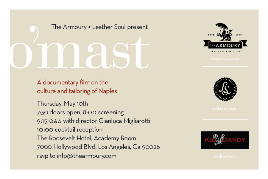 O'Mast Screening LA - May 10th with Gianluca Migliarotti Sponsored by - The Armoury, Leather Soul Hawaii and Kid Dandy Productions Taking place at - The Roosevelt Hotel, Los Angeles Tickets are USD 10