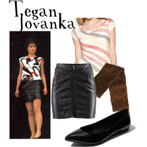 Tegan Jovanka  DKNY Jeans striped t shirt, $30H M leather skirt, £15Report shoes, $50Vivacqua beaded belt, $28
