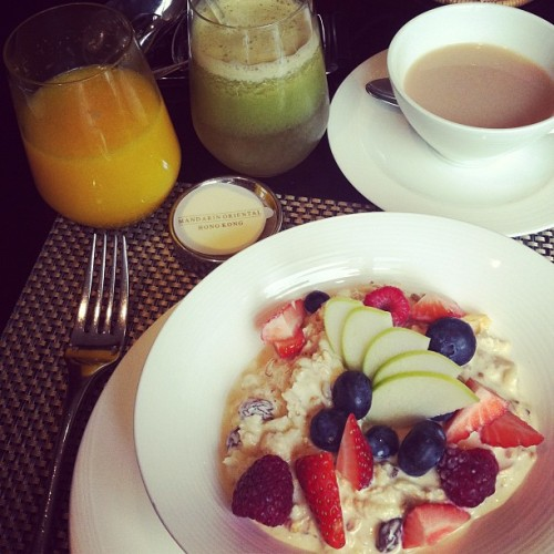 Bircher muesli and fresh fruits for breakfast  - garypeppergirl http://instagr.am/p/J8e5dyM4HK/