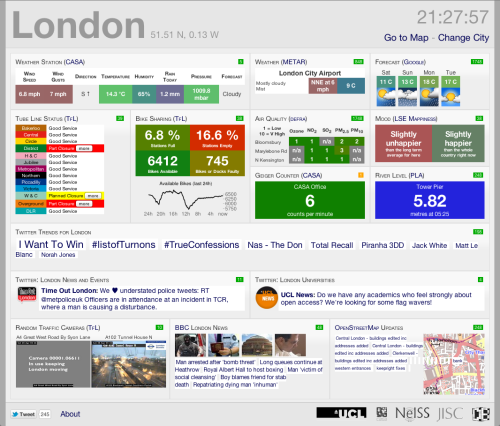 "CityDashboard: London (via), by the CASA research lab at University College London. There's a fuller list of contributors and sources on the about page, along with this disclaimer:  CityDashboard is an early prototype and should be considered to be ""alpha quality"" - expect data feeds to break regularly. Please do not rely on information display in CityDashboard, as it may be erroneous. For example, if the CASA Geiger counter is showing a high reading, please do not panic! Somebody in the office might just have placed some Brazil nuts or another calibration source in front of the detector."