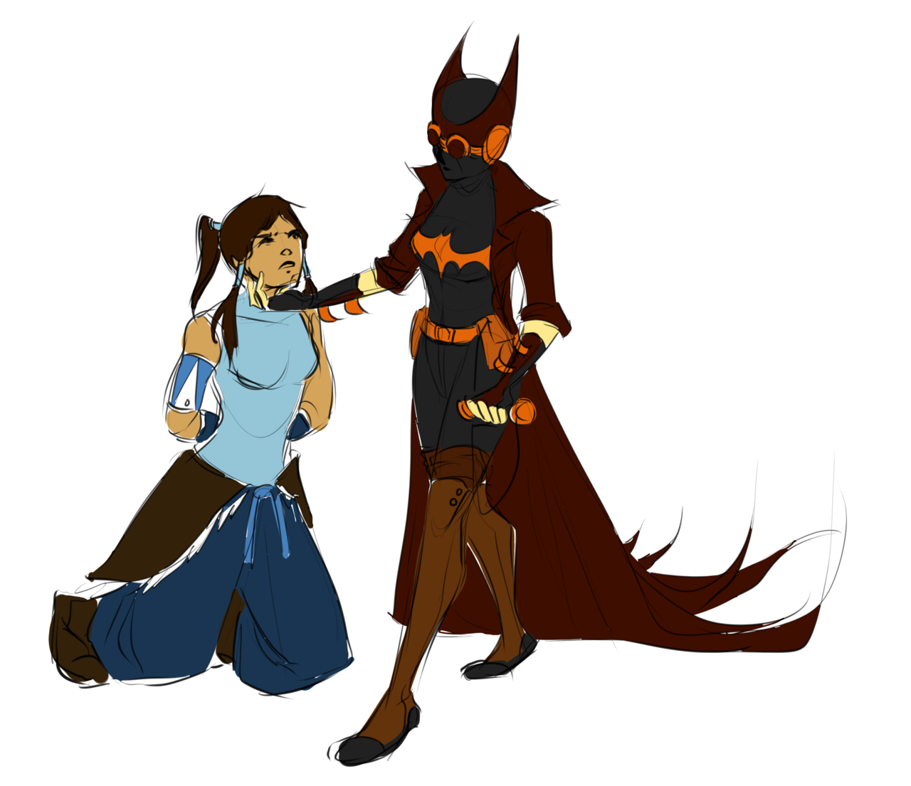 vojuu:  Had to get the idea of LoK!Equalist!Cass/Korra out of my head. She's probably a double agent and helps Korra at the last minute and then steals her heart~