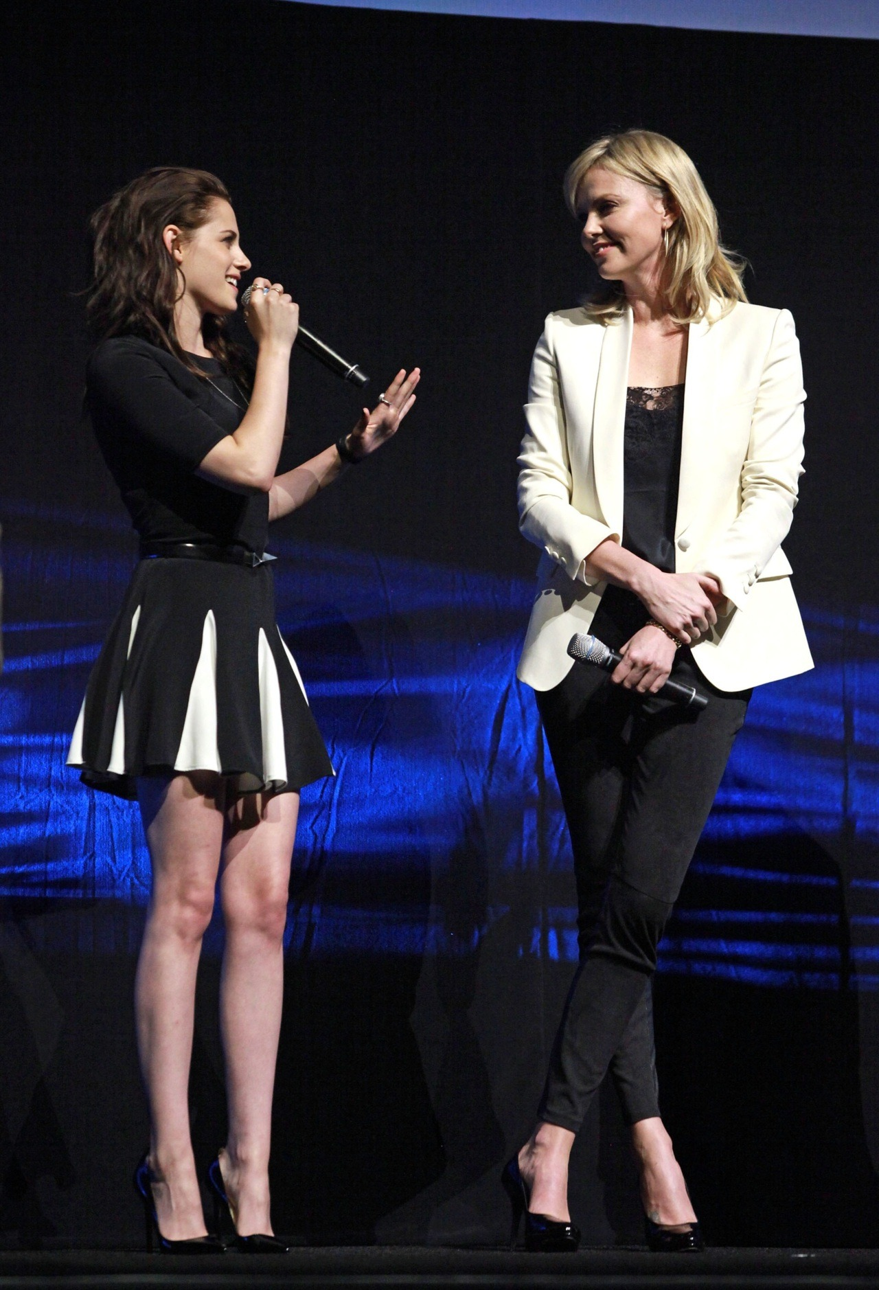 suicideblonde:  Kristen Stewart and Charlize Theron at CinemaCon 2012 in Las Vegas, April 26th Right now my only thought process when I see these two together is this