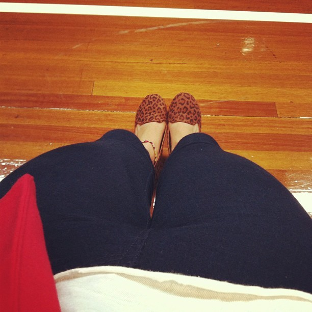At my boys basketball game. #Leopard flats $15, #Zara jeans $15, #Forever21 Blazer $50 (Taken with instagram)