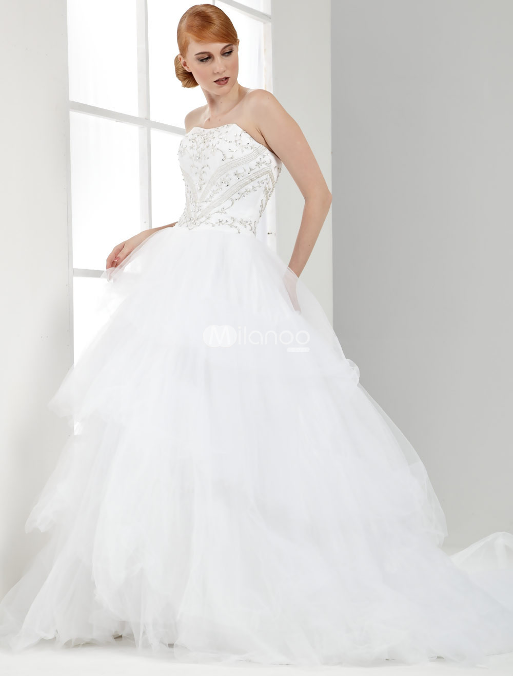 White Strapless A-line Net Bridal Gown :  aline strapless white bridal gown