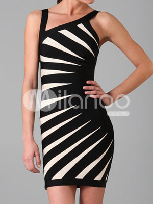 Fashion Inclined Neck White Black Sleeveless Womens Bandage Party Dress