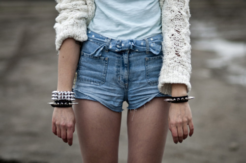 spikes and high waisted shorts