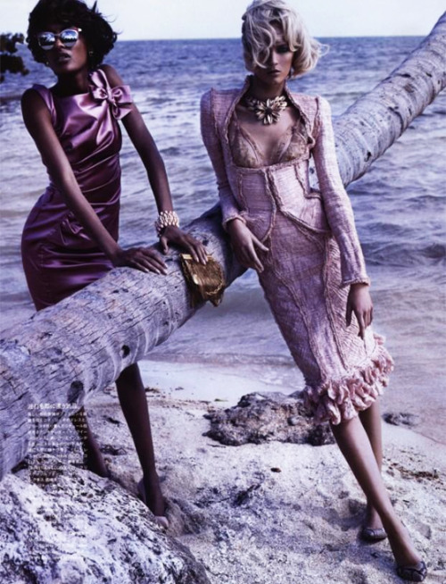 tresaiden:  Vogue Nippon April 2012'Swept Away'Ph: Josh OlinsM: Daria Strokous & Jourdan Dunn