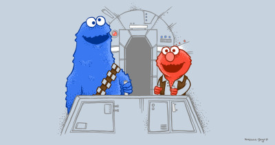 http://atrium.threadless.com/sesamestreet/subs/#/submission/han-elmo-and-the-wookie-monster/  Han elmo and the wookie monster - Now up for scoring on threadless! :D