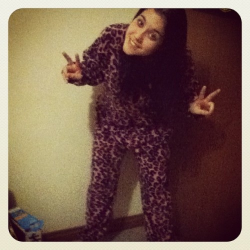 Rockin the leopard onesie tonight! (Taken with instagram)