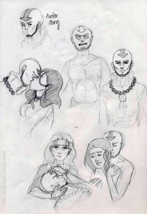 Some sketches of older Aang and Katara.  I think at the bottom he's worried about the situation in the council and Katara calms him like always. I like older Aang, I'm trying to get the handle of his looks. In the first one I kept making him look like his younger self.  If Aang really results to have killed Yakon I think part of me is going to die inside.