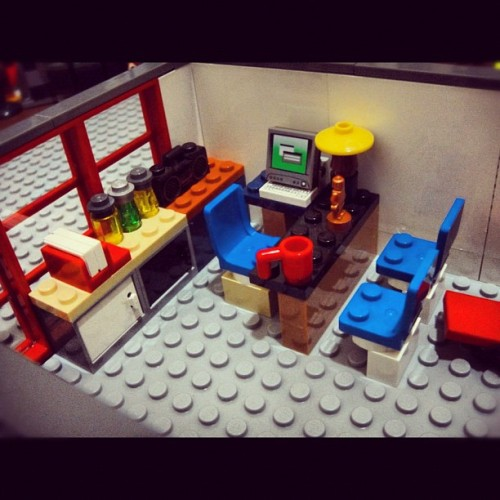 Gregory House: desk section. Plus red mug and stereo #lego #legostagram #legography #housemd #gregoryhouse #office  (Taken with instagram)