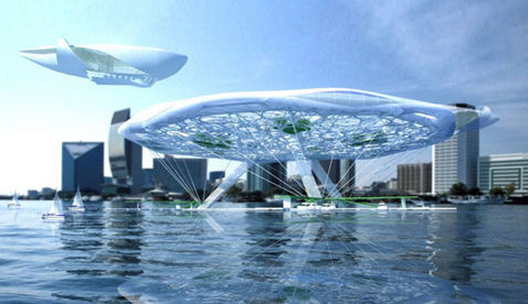The Aerohotel is the latest concept design by Russian architect Asadov. A system of supports anchored to the ground keep the structure aloft while creating the impression that it would fly away if it weren't tethered.