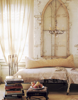 Old windows as wall decorations. Love!