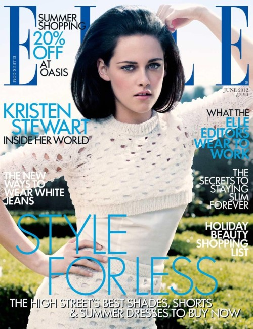 Actress Kristen Stewart covers the June issue of British Elle magazine in Jil Sander's Spring dress lensed by David Slijper.  Original Article