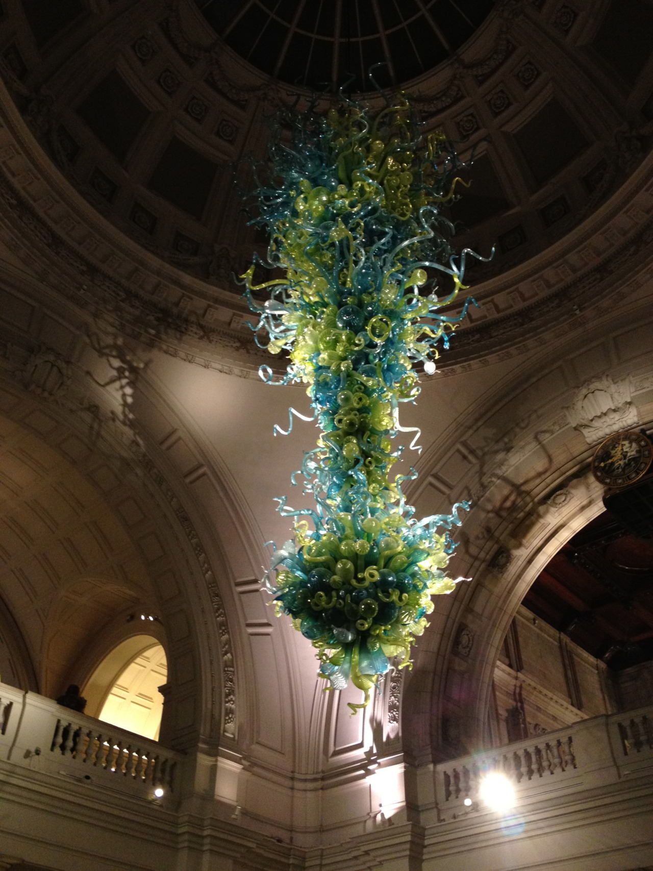 Spotted last night: a stunning Dale Chihuly glass sculpture in the Grand Entrance of the Victoria and Albert Museum during the Friday Late night event.  …(Which I will write more about later- I attended a fascinating talk by the duo behind studio Glithero in London)