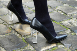© Fabrizzio Morales-Angulo Zara plexiglass heel black leather pump.