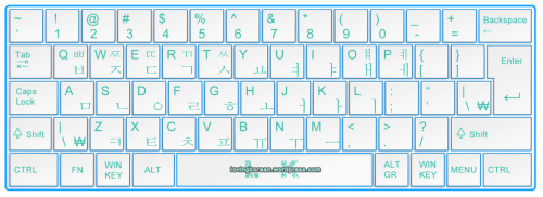 Korean keyboard layout. It is helpful for typing Hangul.Click on the link (chain) icon to get the large size image.