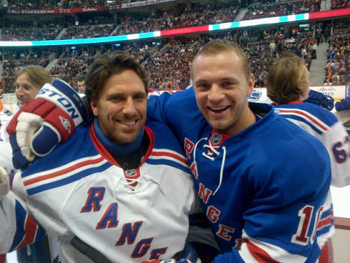 Henrik Lundqvist and Marian Gaborik, New York Rangers. (via @sampuckdrop13 on twitter)