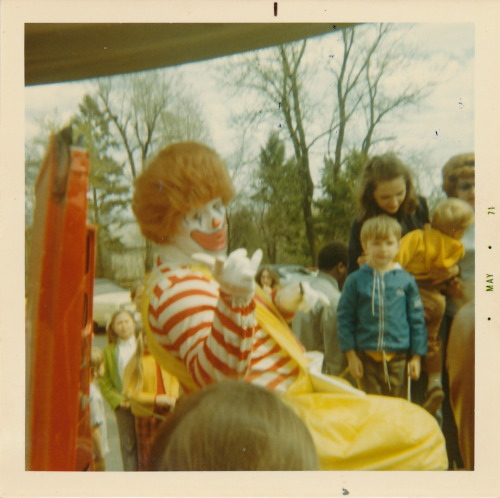 A photo of a 1971 appearance by Ronald McDonald, likely from the Palatine, Illinois area. From a large collection of family photos I picked up last month.