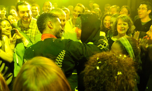 Another picture of Justin attending Usher's 'Looking For Myself' listening event with Fuerza Bruta New York City on April 27.