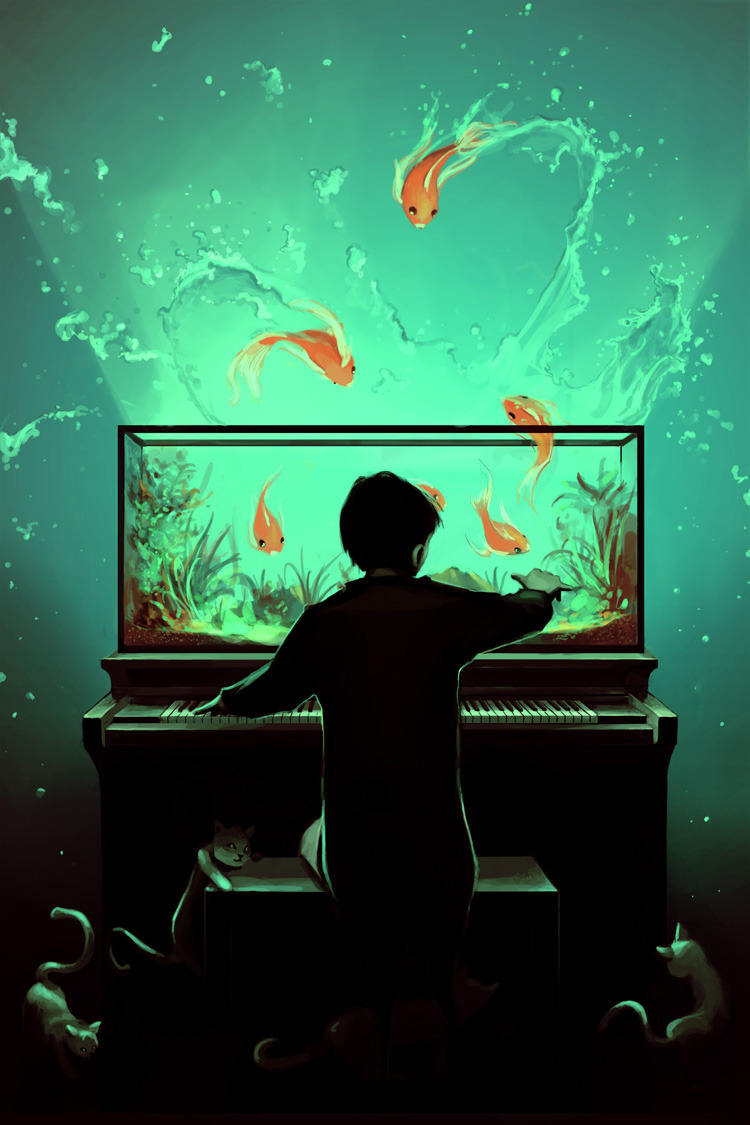 "cyrilrolando:  I just posted ""Le Pianoquarium"" ROLANDO Cyril  (France) via Curioos To feel the musing, listen to LOUD Music, Resound with your deafening colours, A firework ricochets off your sounds, Flood your soul, splash all your walls,  Bathe your eyes and suffuse your ears,  Skim your poetries to bounce your wild ideas, Let the light strikes your sensitive cord, To feel the musing, listen to LOUD music."