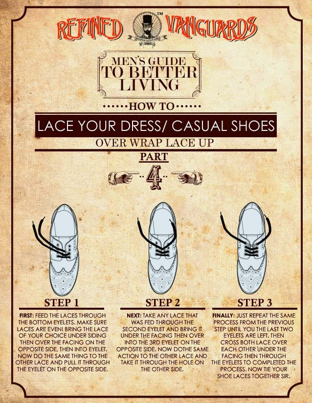 "RFND: How To Lace Dress and Casual Shoes Pt.4 We know that you have been waiting patiently for the forth and final installment to our ""How to Lace"" series. Well gents we proudly present to you the ""Over Wrap Lace""…Read More.."