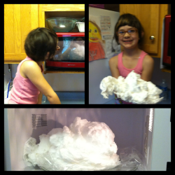 Made soap clouds this morning. What a great way to get the littles to take a bath.