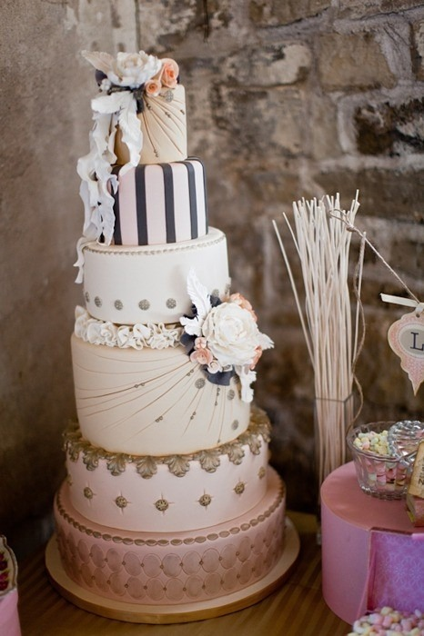 perfect-wedding:  Want more wedding stuff? Click  What a darling cake! So unique and lovely.