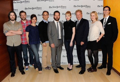 The Apartment Live Read: Jason Reitman, Jason Sudeikis, Cara Buono, David Wain, Paul Rudd, Emma Stone, James Woods, Greta Gerwig and Tom Cavanagh. (Read more about Reitman's latest edition of live reads that have included The Breakfast Club, The Princess Bride and Shampoo.)