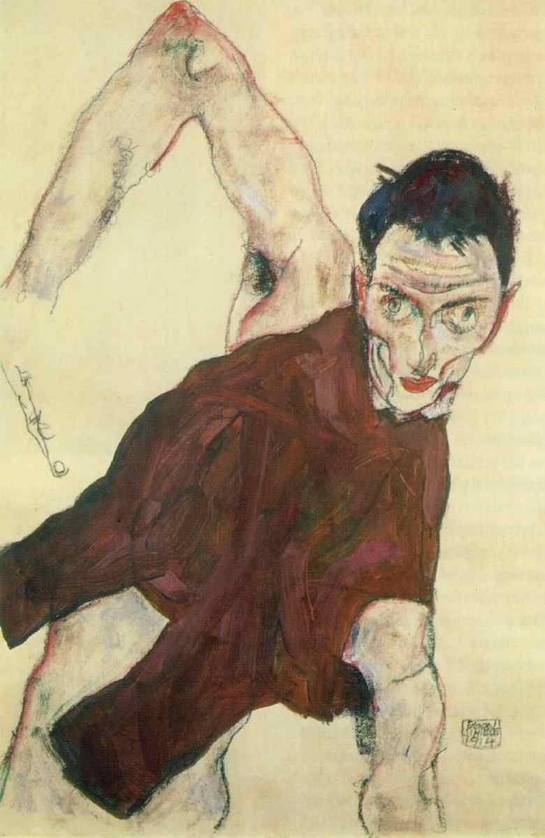 tuonodigenesi:  Egon Schiele.   Self-portrait in a jerkin with right elbow raised   1914. goache, pencil, chalk