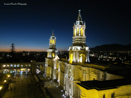 innocentthunderphotography:  Arequipa at Night  Going to Peru on Sunday!  Arica-Arequipa-Puno-Cusco-Machu Picchu!