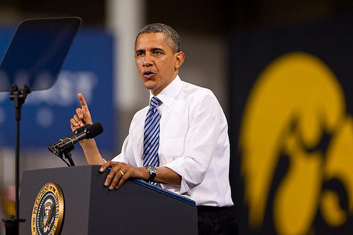 Obama and Iowa Hawkeyes logo. Yes.