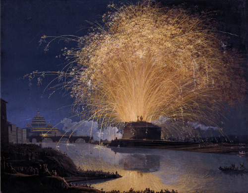 themetropolitanline:  artandopinion: Fireworks over Castel Sant'Angelo in Rome 1775 Jacob Philipp Hackert