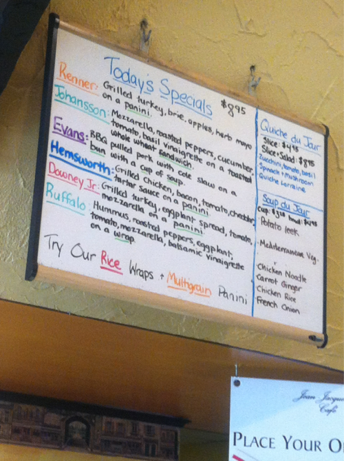 mirandayoung:  in honor of the avengers, the menu of the day at a local cafe