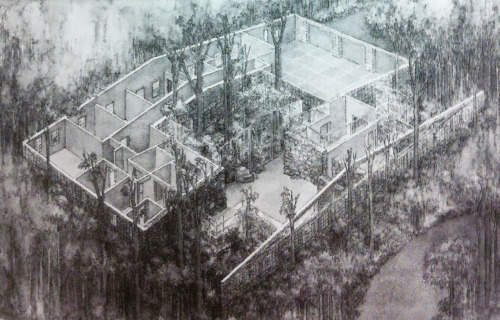 polychroniadis:   Proposal by James Wines for a house  occupied by nature.