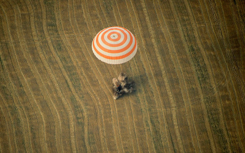 Arkalyk, Kazakhstan: The Soyuz TMA-22 capsule carrying International Space Station crew lands in a field
