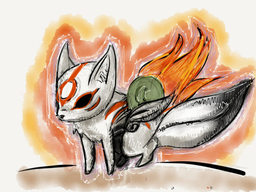 blujayebyrd:  30 min picture i did, give or take of Okami, i like it… i plan on doing more, down the road.  Bawwww~~~