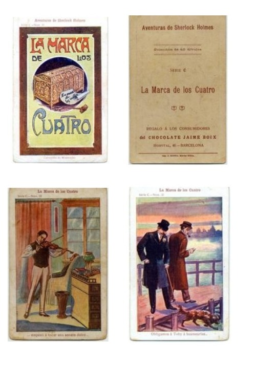 "In 1920 The Jamie Boix Chocolate Company, from Barcelona Spain, included collectors cards in select boxes.   Thirty two cards depicting scenes from ""The Sign of the Four"" were released.    Courtesy of: U.M.Library"